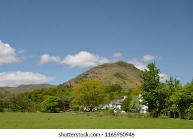 Helm Crag above village of Grasmere, Lake District