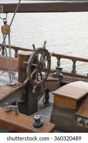 The helm of an historic sailing boat