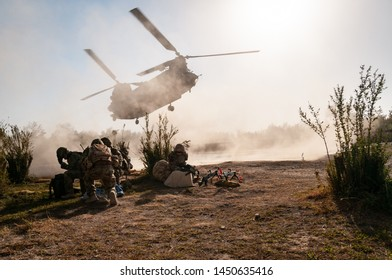 Helmand, Afghanistan -October 2010: British Chinook helicopter landing  in Helmand