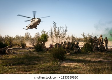 Helmand, Afghanistan, October 2010: Helicopter Landing zone at British military base in Helmand, Afghanistan
