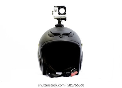 helmet with action camera, white background.