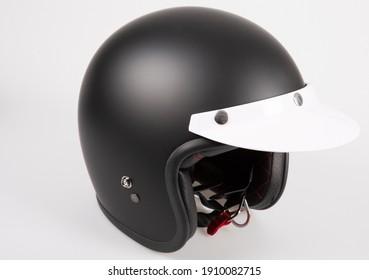 helmet black motorcycle anti-sun protective visor retro and vintage style cafe racer