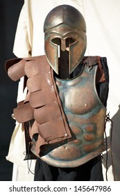 helmet and breastplate of a Spartan Corinthian Soldier uniform