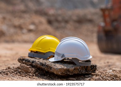 helmet in construction site and construction site worker background safety first conceptSafety Helmet Engineering Construction worker equipment