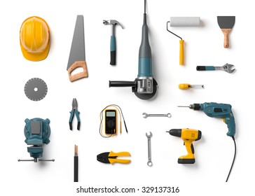 helmet, drill, angle grinder and other construction tools on a white background isolated