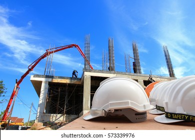 helmet for engineer  security on contruction background
