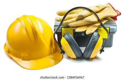 helmet headphones gloves toolbox isolated
