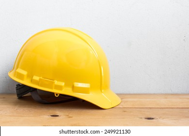 Helmet Safety On Wood Table