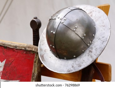 helmet and sword medieval knight