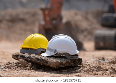 helmets in construction site and construction site worker background safety first concept. Safety Helmet Engineering Construction worker equipment