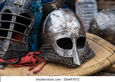 Helmets on shield for role-playing games