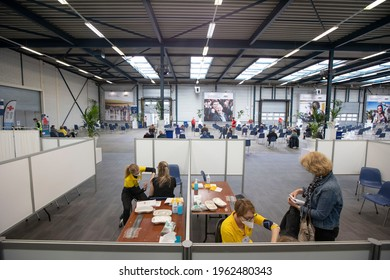 Helmond, Netherlands - April 24 2021: New Corona Vaccination center opens in the Netherlands, providing that day BioNTech Pfizer jabs.