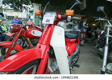 Helmsley, United Kingdom / 26th September 2015: Used Moped Motorbike Close Up Old Auction Lot Number Retro Bikes