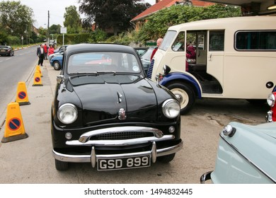 Helmsley, United Kingdom / 26th September 2015: Retro black standard Morris Minor at Auction with old Black and Silver number plate