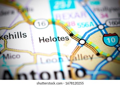 Helotes. Texas. USA on a map