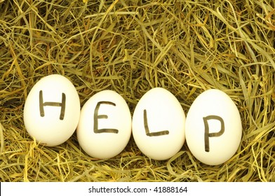help or assistance concept with egg on hey or straw