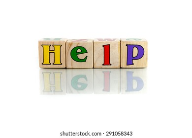 help colorful wooden word block on the white background