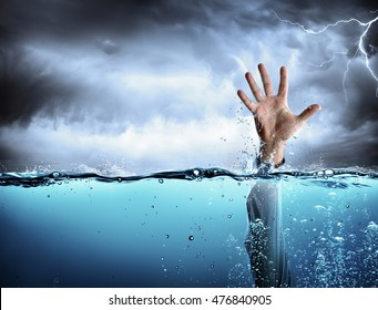 Help Concept - Drowning And Failure - Man s Hand In Sea
