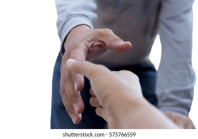 Help concept man reaching to help isolated in white background