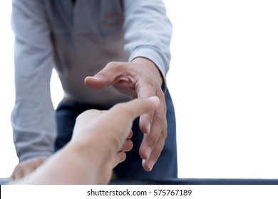 Help concept man reaching out to help isolated in white background