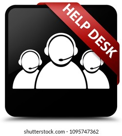 Help desk (customer care team icon) isolated on black square button with red ribbon in corner abstract illustration