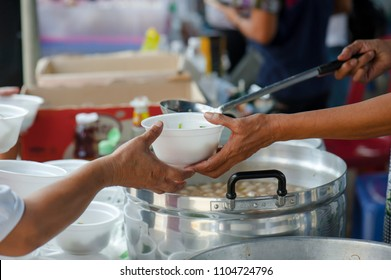 Help with feeding homeless people to alleviate hunger. poverty concept