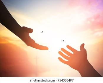 help hand on cross background