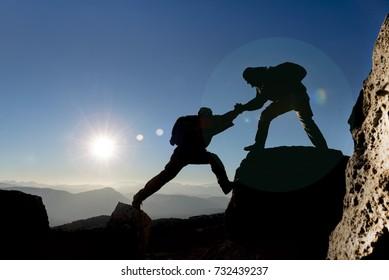 help & mountaineering & adventurer