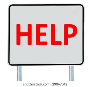 """A """"Help"""" sign isolated on white."""