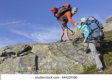 Help, support and help in a dangerous situation to hike in the mountains.