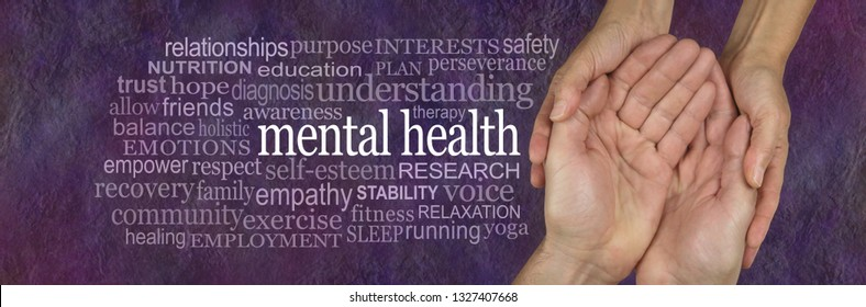 Help for those with Mental Health issues Word Tag Cloud - male open palm hand with the words MENTAL HEALTH floating above surrounded by a word cloud on an abstract chaotic red background