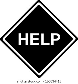 Help - Traffic black Sign isolated on white