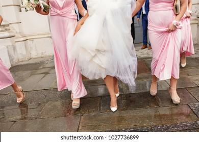 Help at wedding party. Bridesmaids and bride walking after wedding ceremony without groom and groomsmen