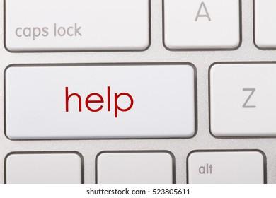 Help word written on computer keyboard.