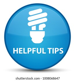 Helpful tips (bulb icon) isolated on special cyan blue round button abstract illustration
