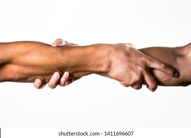 Helping hand concept and international day of peace, support. Helping hand outstretched, isolated arm, salvation. Rescue, helping gesture or hands. Two hands, helping arm of a friend, teamwork.
