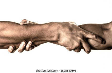 Helping hand concept and international day of peace, support. Rescue, helping gesture or hands. Two hands, helping arm of a friend, teamwork.
