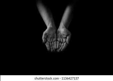 Helping hand concept, Man's hands palms up, giving care and support, reaching out