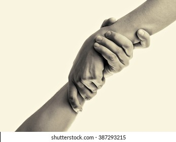 helping hand, isolated, toned image