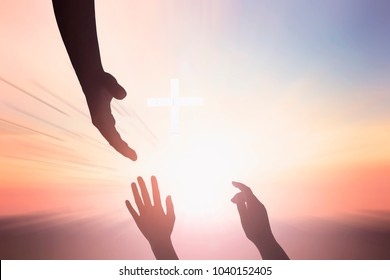 helping hand outstretched for salvation on isolated toned background
