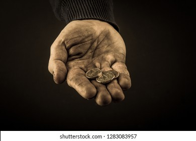 Helping hands concept, Man's hands palms up holding money coins, need care and support, reaching out, dirty hands, aged photo amber