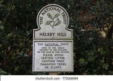 Helsby, Cheshire, England. 5 December 2017.  National Trust Sign.