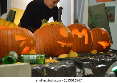 Helsingborg / Sweden - 10 16 2019: Halloween Pumpkin Carving contest and fun Afterwork, networking and mingling event organized at Mind Park, Helsingborg, Sweden
