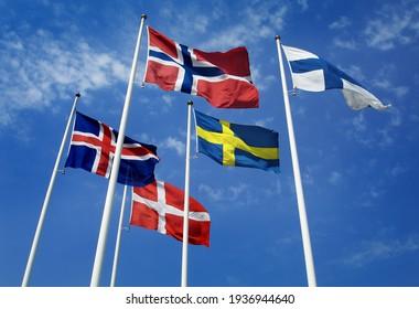 HELSINGBORG, SWEDEN- 10 JULY 2010:  Nordic flags. Photo Jeppe Gustafsson