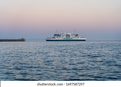 HELSINGBORG, SWEDEN - April 8, 2020: Forsea is one of the battery powered car-ferry, that operates on the HH Ferry route between Helsingborg - Helsingør.