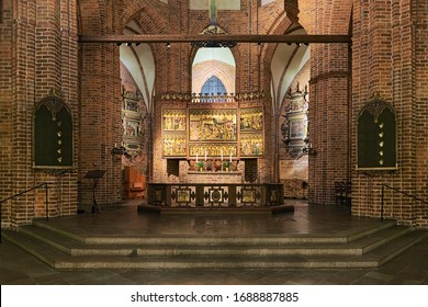 HELSINGBORG, SWEDEN - DECEMBER 11, 2015: Altar of St. Mary's Church. The polyptych altarpiece was created in the 15th century. It depicts scenes from the life of Jesus and Virgin Mary.