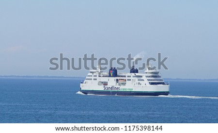 d1d5c281dd8 HELSINGBORG, SWEDEN – JULY 20, 2018: The ferry Tycho Brahe en route to
