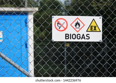 Helsingborg, Sweden - June 2019: A sign on a fence at a biogas-facility.