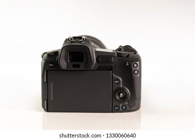 HELSINGBORG, SWEDEN; March 1, 2019: The new mirroless full frame camera Canon EOS R, pictured from behind.