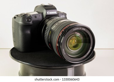 HELSINGBORG, SWEDEN; March 1, 2019: The new mirroless full frame camera Canon EOS R, with the EF 24-105 mm & lens adapter.